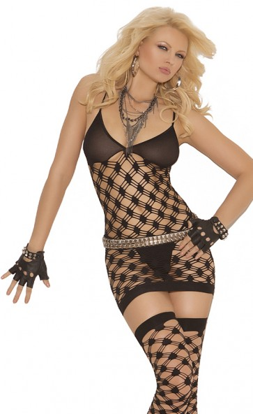 Diamond Net Dress, G-String And Thigh Highs