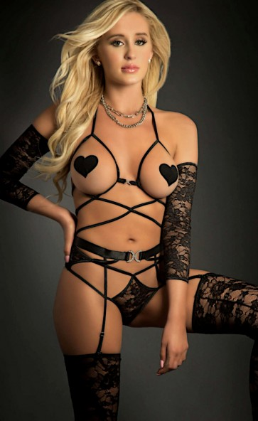 Open Cup Strappy Teddy With Lace Sleeves