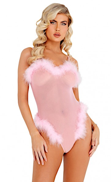 Marabou Feather Trim Mesh Teddy