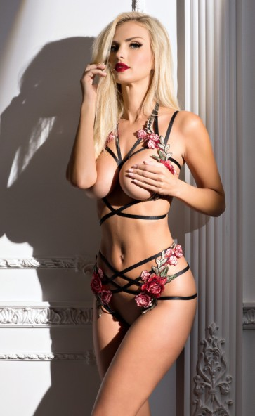 Open Cup Strappy Bra & Panty