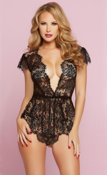 Amazing Plunging Eyelash Lace Teddy