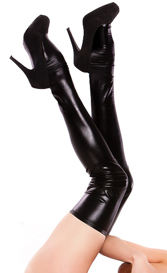 Alluring Wet Look Thigh Highs