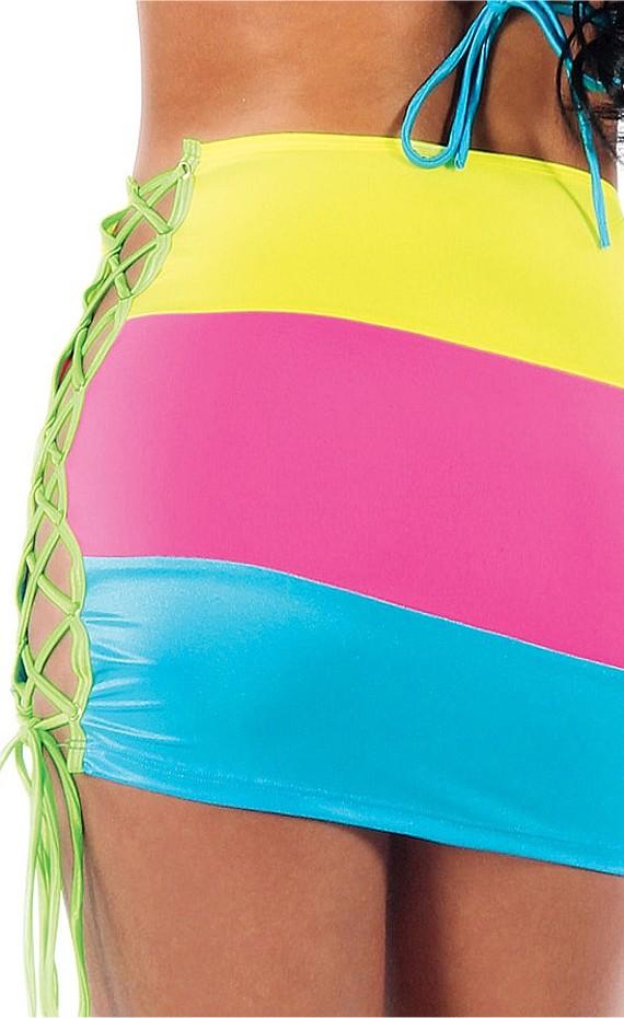 neon rainbow pencil skirt