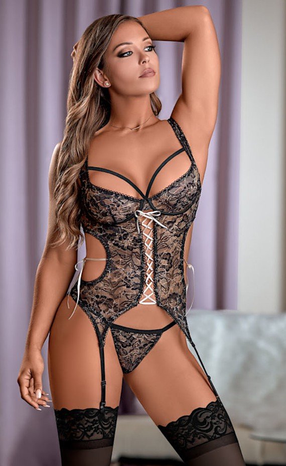 Black Color Bewitching Merry Widow /& G-String