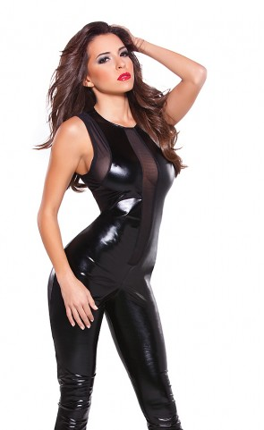 Wet Look & Mesh Catsuit