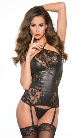 Wet Look And Lace Bustier