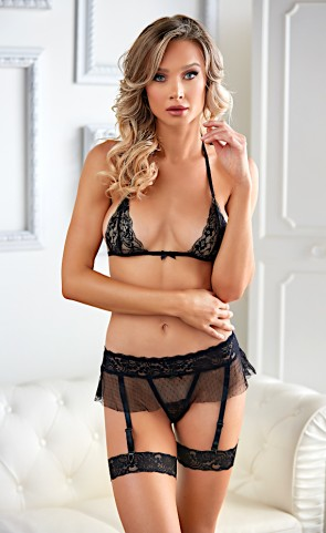 Willow Mesh Lace Bra & Garter Set