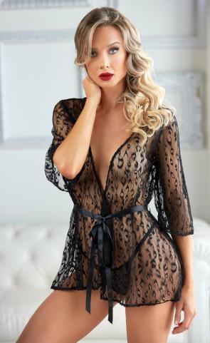 Valentina Leopard Lace Robe Set