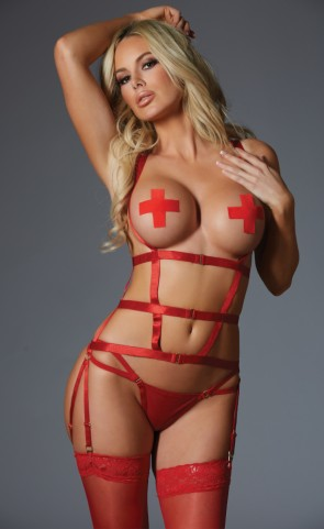 One Night Stand Open Cup Corselette Set