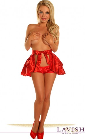 Satin Layered Ruffle Skirt