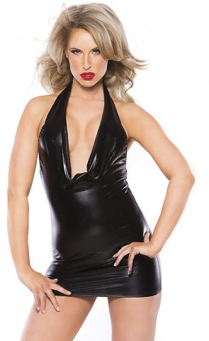 Alluring Wet Look Cowl Neck Mini Dress