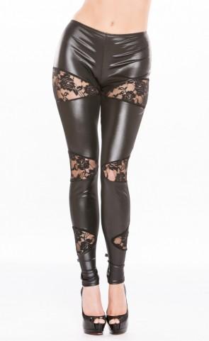 Wet Look & Lace Leggings