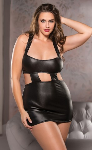 Scoop Neck Wet Look Dress Plus Size