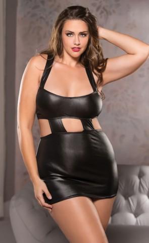 Scoop Neck Wet Look Dress Plus Size
