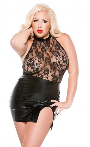 Kitten Wet Look & Lace Dress Plus Size