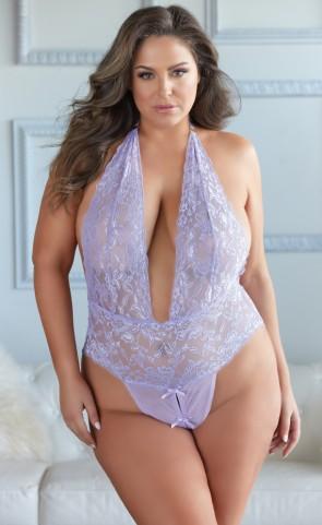 Plunging Lace Simone Teddy Plus Size