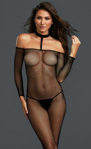 Net Off Shoulder Choker Bodystocking
