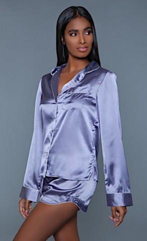 Satin Pajama Jacket & Shorts Set