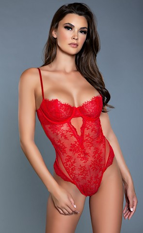 Ariella Push Up Cup Red Lace Bodysuit