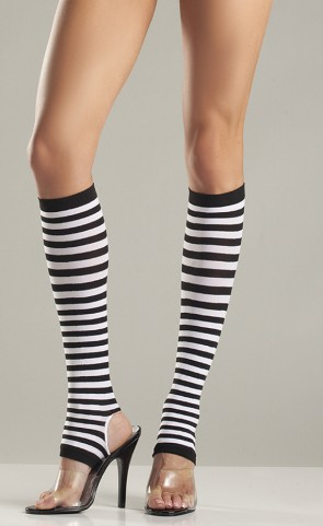 Striped Nylon Stirrup Knee Highs