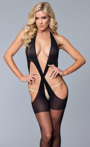 Criss Cross Backless Bodystocking