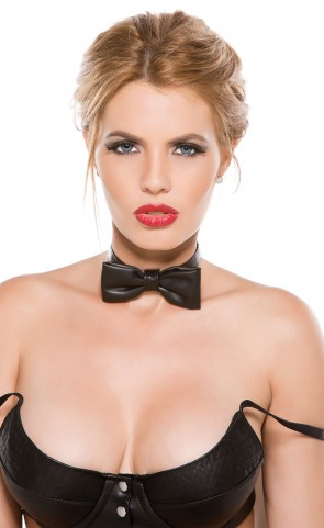 Faux Leather Bow Tie Collar