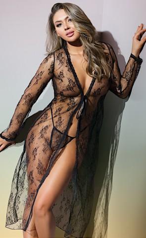 Sheer Lace Robe & G-String
