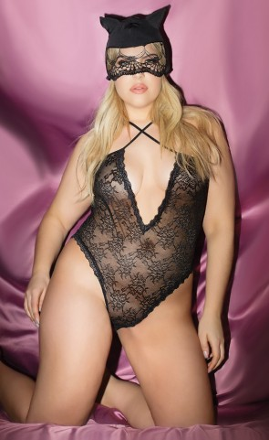 "Sexy ""Kitty"" Lace Teddy & Mask Plus Size"