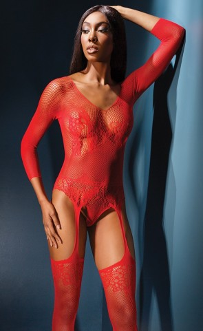 Long Sleeve Lace Teddy Bodystocking
