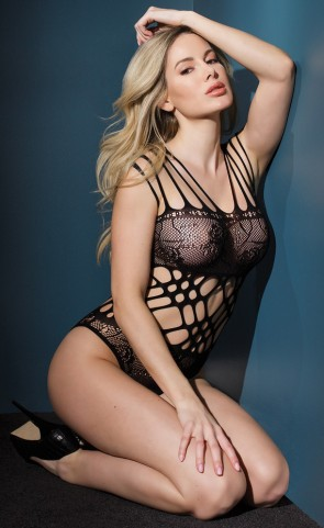 Cut Out Net Strappy Teddy