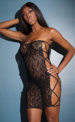 Black Cut Out Lace Tube Dress