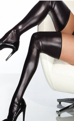 Wet Look Thigh High Stockings Plus Size