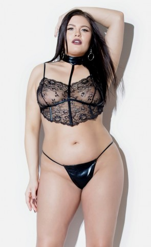Lace & Wet Look Choker Bralette Set Plus Size