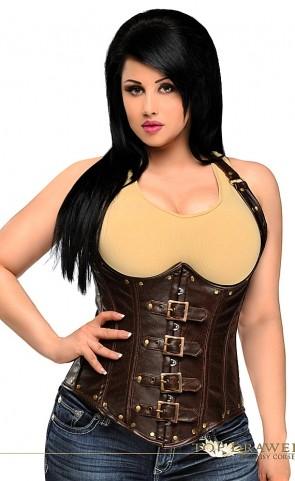 Faux Leather Underbust Corset Plus Size