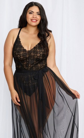 Mosaic Lace Teddy & Sheer Maxi Skirt Plus Size
