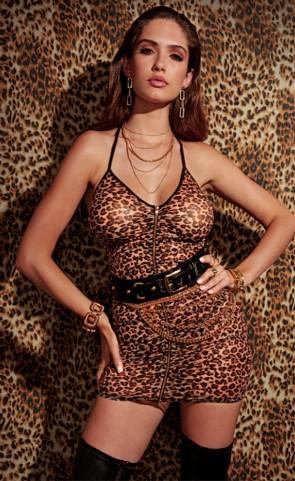 Leopard Print Zipper Chemise