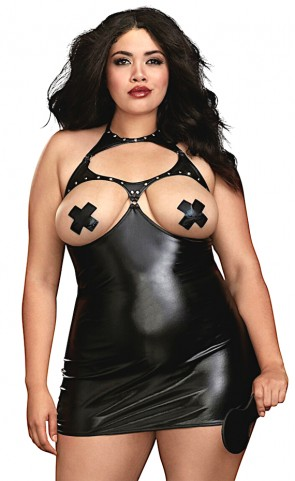Faux Leather Boob Out Chemise Plus Size