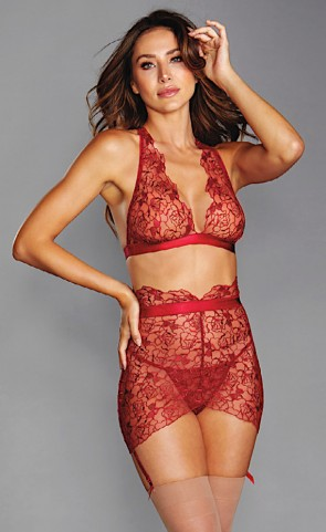 Lace Embroidered Bralette & Garter Skirt Set