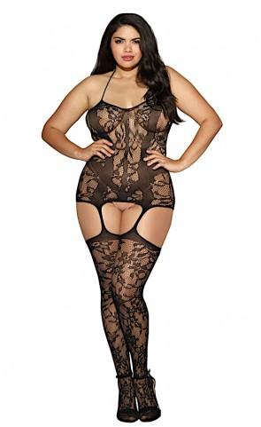 Lace Garter Dress & Stockings Plus Size