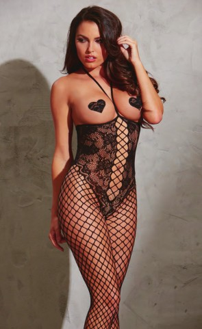 Open Cup Fishnet & Lace Bodystocking