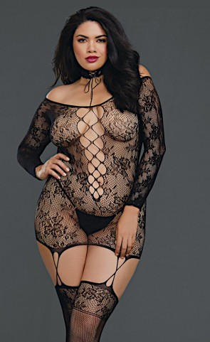 Reversible Off The Shoulder Bodystocking Plus Size