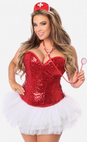 Plus Size Sequin Nurse Corset Costume