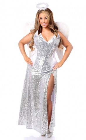Plus Size Premium Sequin Angelic Corset Costume