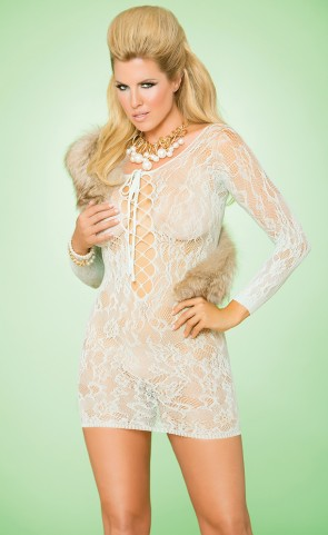 Long Sleeve Lace Dress Plus Size