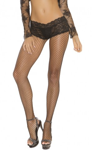 Fishnet Pantyhose With Attached Lace Panty