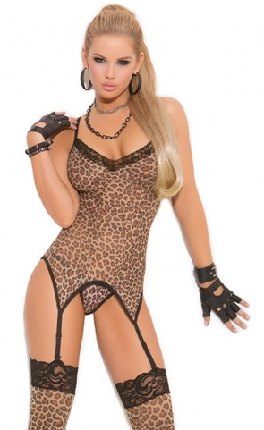 Leopard Print Camisette, G-String & Stockings