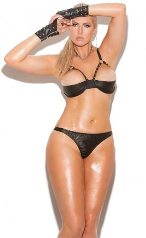 Leather Halter Demi Bra Plus Size