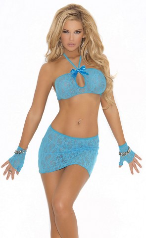 Lace Stretch Cami, Skirt And Gloves