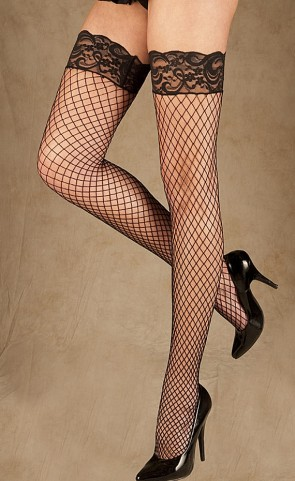 Stay Up Top Fence Net Thigh Hi Stockings Plus