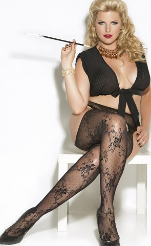 Lace Suspender Pantyhose Plus Size